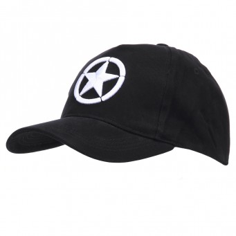 Baseball Cap Allied Star WWII 3D (Nero)