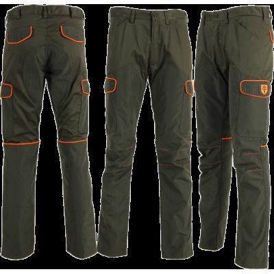 Pantaloni con fodera in Kevlar antispine (Verde/Arancio)